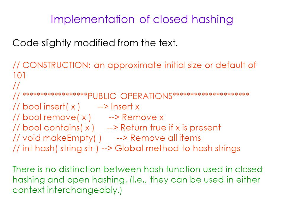 Implementation of closed hashing Code slightly modified from the text.