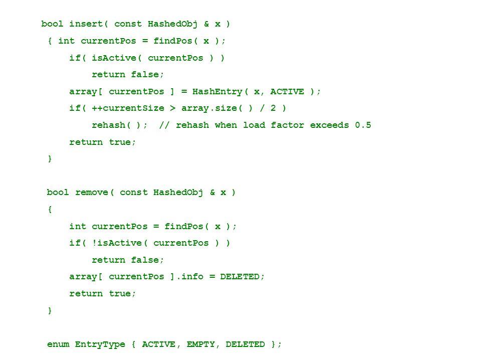 bool insert( const HashedObj & x ) { int currentPos = findPos( x ); if( isActive( currentPos ) ) return false; array[ currentPos ] = HashEntry( x, ACT