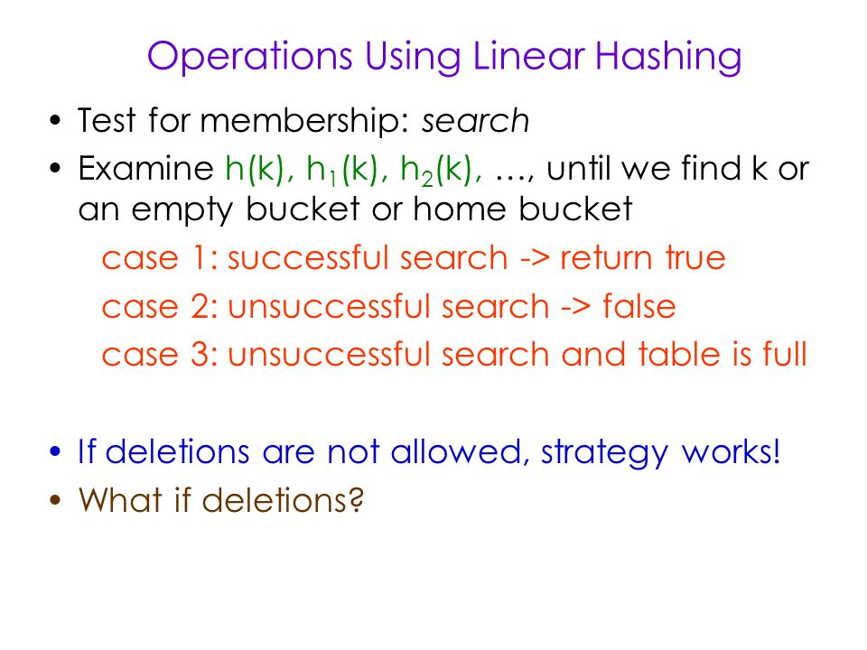 Operations Using Linear Hashing Test for membership: search Examine h(k), h 1 (k), h 2 (k), …, until we find k or an empty bucket or home bucket case 1: successful search -> return true case 2: unsuccessful search -> false case 3: unsuccessful search and table is full If deletions are not allowed, strategy works.