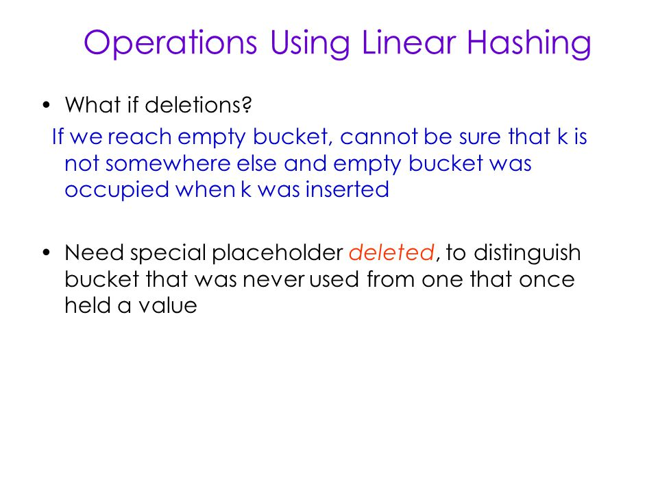 Operations Using Linear Hashing What if deletions.