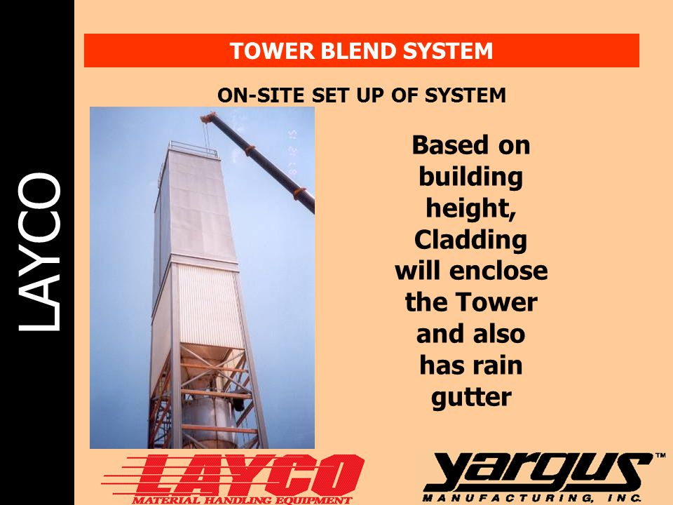 LAYCO TOWER BLEND SYSTEM ON-SITE SET UP OF SYSTEM Based on building height, Cladding will enclose the Tower and also has rain gutter