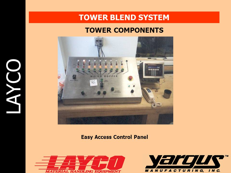 LAYCO TOWER BLEND SYSTEM TOWER COMPONENTS Easy Access Control Panel