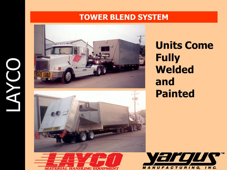 LAYCO TOWER BLEND SYSTEM Units Come Fully Welded and Painted
