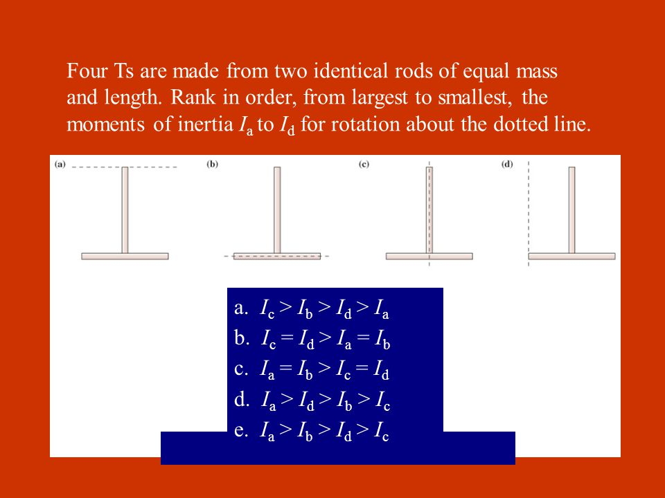 Four Ts are made from two identical rods of equal mass and length.