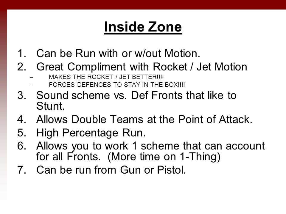 Inside Zone 1.Can be Run with or w/out Motion.