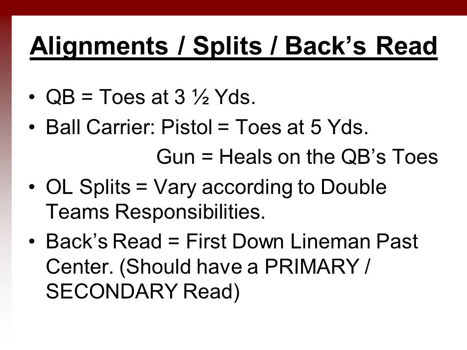 Alignments / Splits / Back's Read QB = Toes at 3 ½ Yds.