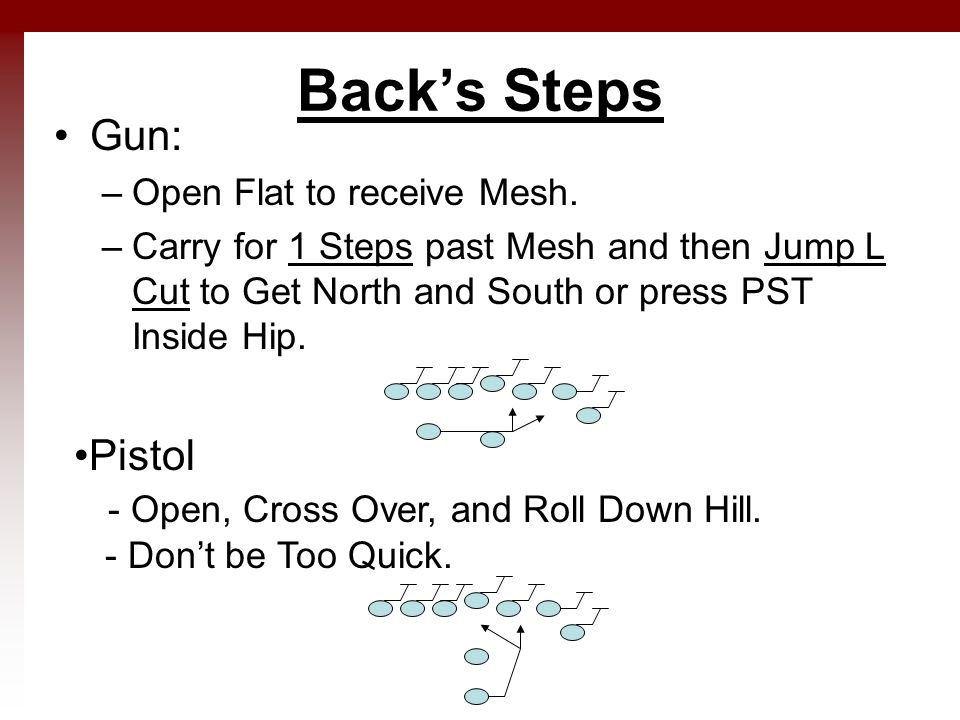 Back's Steps Gun: –Open Flat to receive Mesh. –Carry for 1 Steps past Mesh and then Jump L Cut to Get North and South or press PST Inside Hip. Pistol
