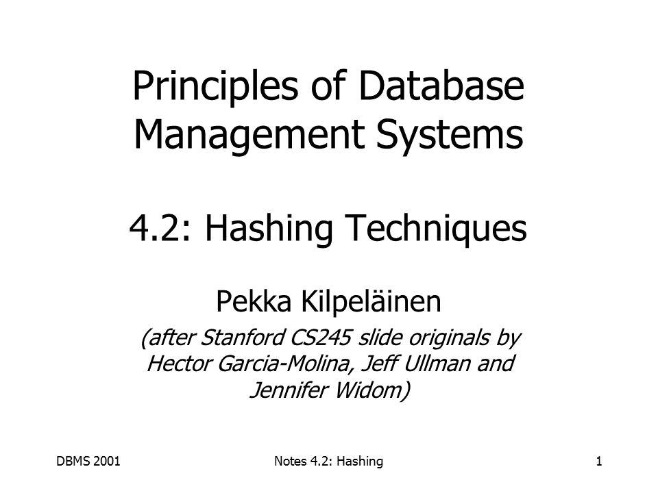 DBMS 2001Notes 4.2: Hashing2 Hashing.