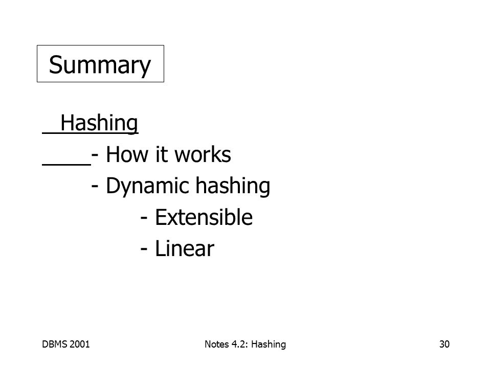 DBMS 2001Notes 4.2: Hashing30 Hashing - How it works - Dynamic hashing - Extensible - Linear Summary