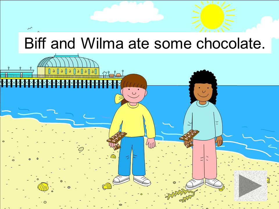 Biff and Wilma ate a burger.