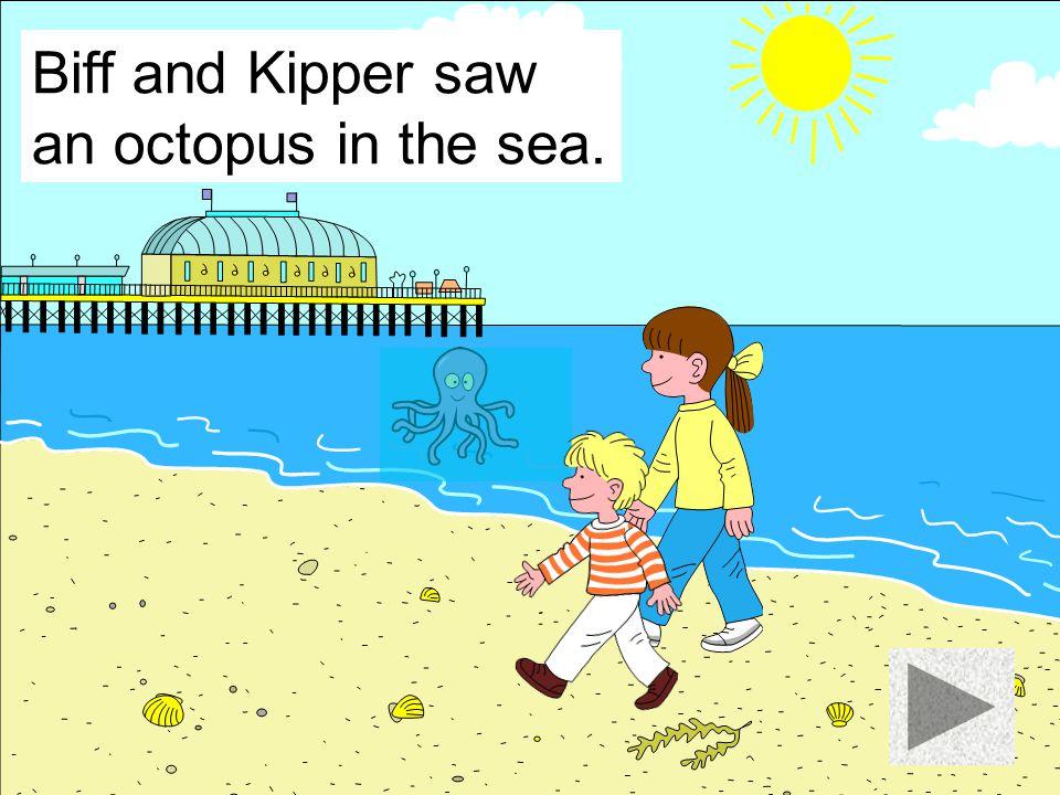 Biff and Kipper saw a fish in the sea.