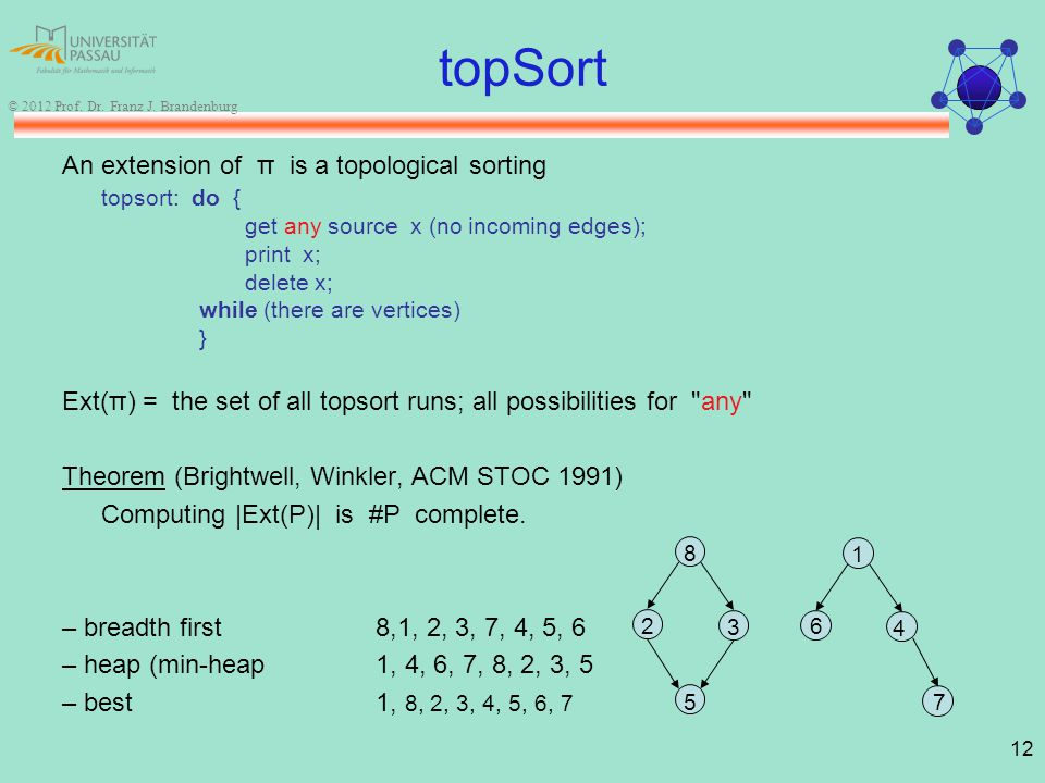 12 © 2012 Prof. Dr. Franz J. Brandenburg topSort An extension of π is a topological sorting topsort: do { get any source x (no incoming edges); print