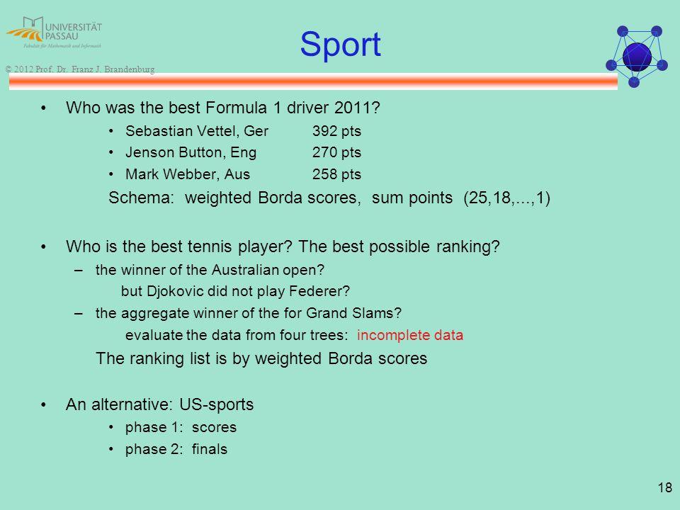 18 © 2012 Prof. Dr. Franz J. Brandenburg Sport Who was the best Formula 1 driver 2011.