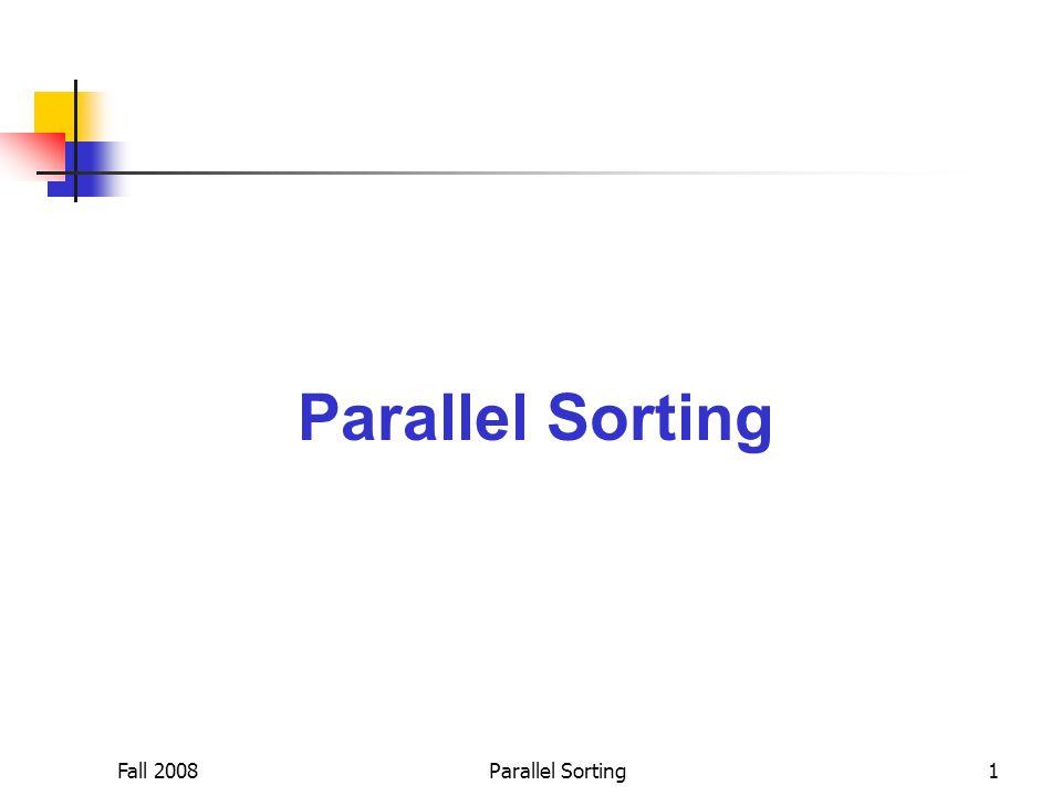 Fall 2008Parallel Sorting12 Effect of Bucket Skew PPS : PRS → 37.1% PPS : LOBS → 60.9% Bucket skew=1 25.23 ( 秒 ) 15.93 ( 秒 ) 9.87 ( 秒 )