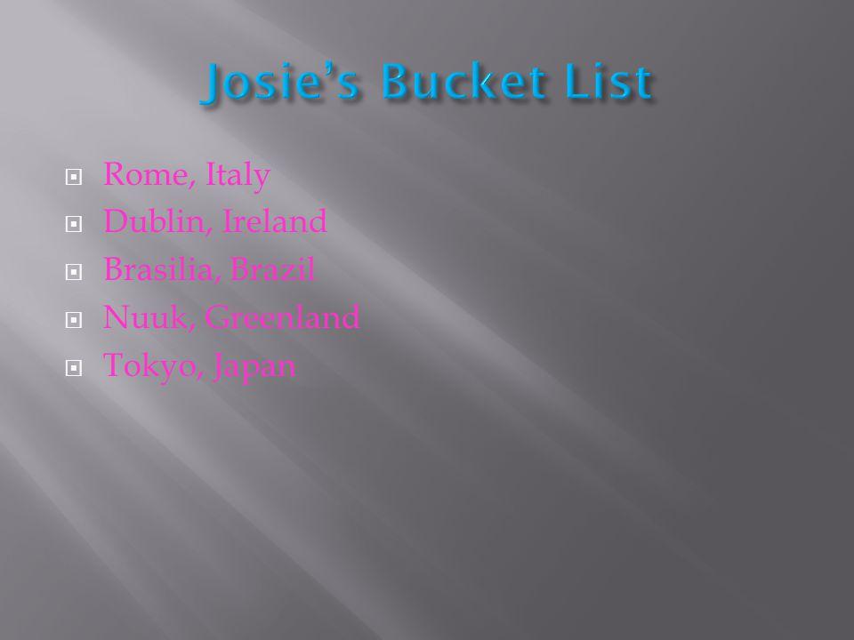  Rome, Italy  Dublin, Ireland  Brasilia, Brazil  Nuuk, Greenland  Tokyo, Japan