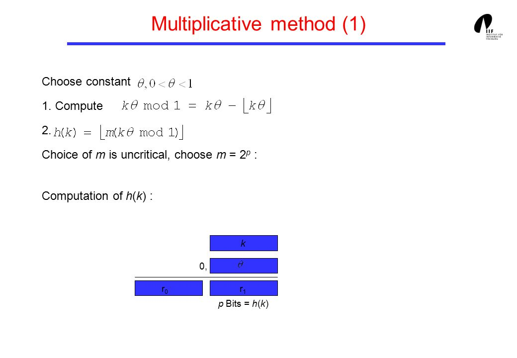 Multiplicative method (1) Choose constant 1.Compute 2.