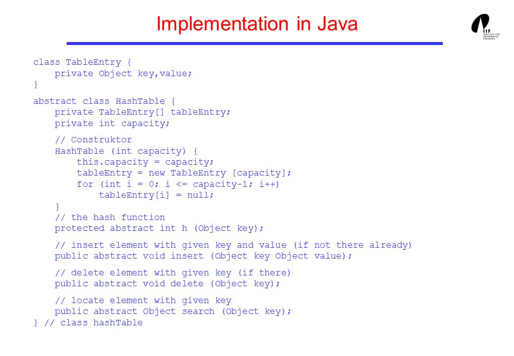 Implementation in Java class TableEntry { private Object key,value; } abstract class HashTable { private TableEntry[] tableEntry; private int capacity; // Construktor HashTable (int capacity) { this.capacity = capacity; tableEntry = new TableEntry [capacity]; for (int i = 0; i <= capacity-1; i++) tableEntry[i] = null; } // the hash function protected abstract int h (Object key); // insert element with given key and value (if not there already) public abstract void insert (Object key Object value); // delete element with given key (if there) public abstract void delete (Object key); // locate element with given key public abstract Object search (Object key); } // class hashTable