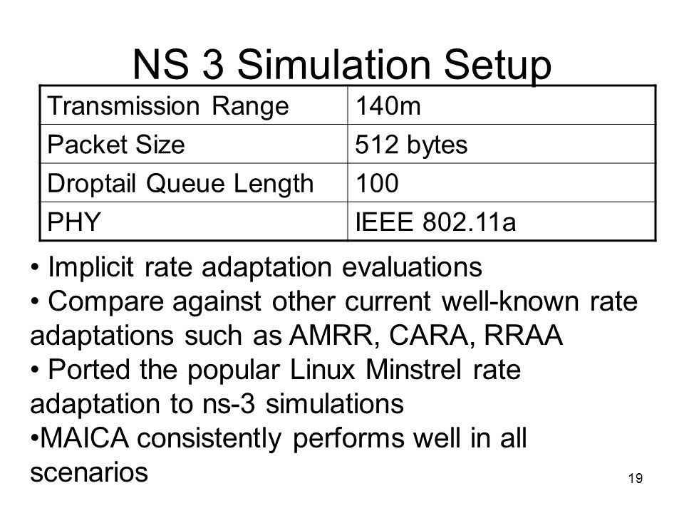 19 NS 3 Simulation Setup Transmission Range140m Packet Size512 bytes Droptail Queue Length100 PHYIEEE 802.11a Implicit rate adaptation evaluations Com