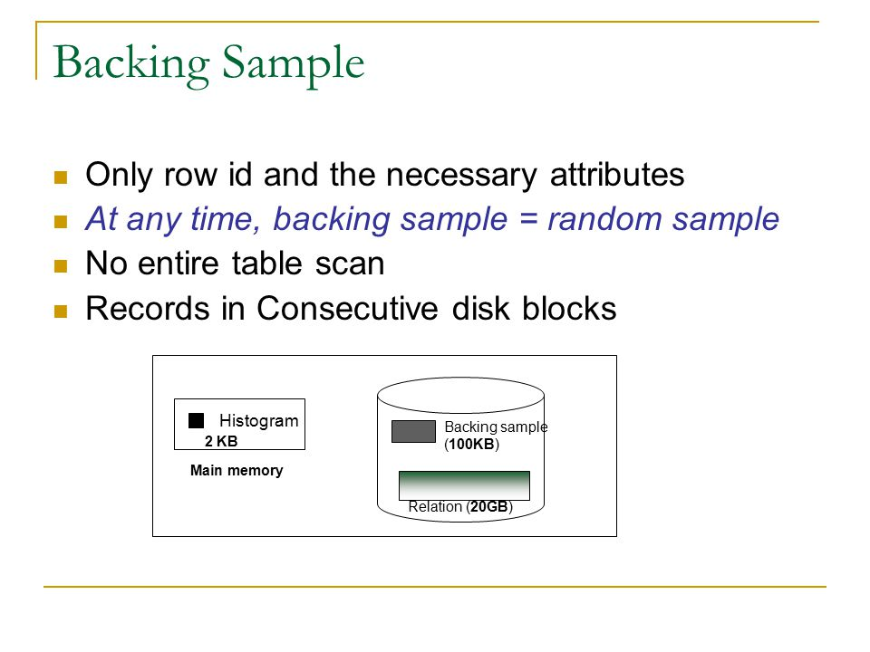 Backing Sample Only row id and the necessary attributes At any time, backing sample = random sample No entire table scan Records in Consecutive disk blocks Histogram Relation (20GB) Backing sample (100KB) 2 KB Main memory
