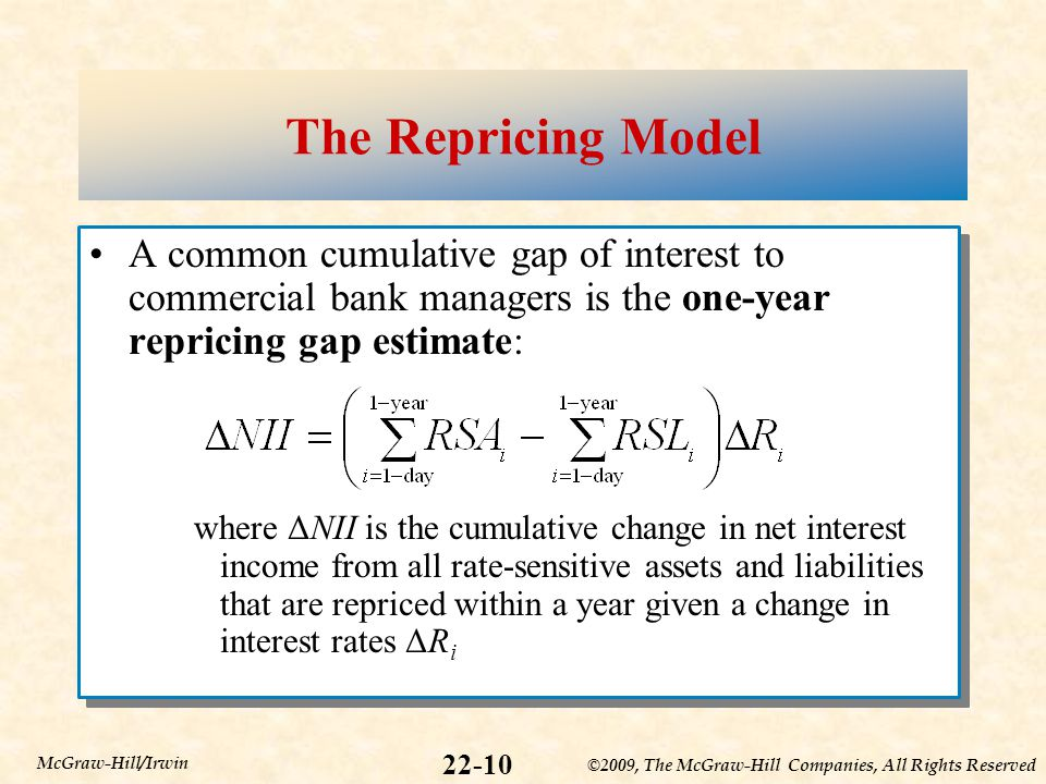 ©2009, The McGraw-Hill Companies, All Rights Reserved 22-10 McGraw-Hill/Irwin The Repricing Model A common cumulative gap of interest to commercial bank managers is the one-year repricing gap estimate: where ΔNII is the cumulative change in net interest income from all rate-sensitive assets and liabilities that are repriced within a year given a change in interest rates ΔR i A common cumulative gap of interest to commercial bank managers is the one-year repricing gap estimate: where ΔNII is the cumulative change in net interest income from all rate-sensitive assets and liabilities that are repriced within a year given a change in interest rates ΔR i
