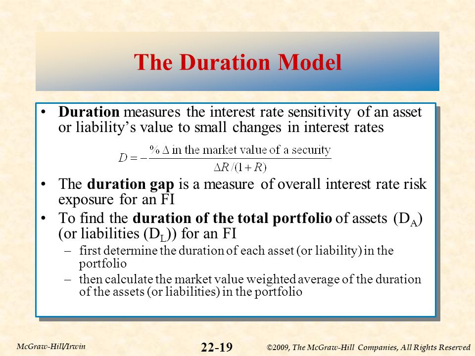 ©2009, The McGraw-Hill Companies, All Rights Reserved 22-19 McGraw-Hill/Irwin The Duration Model Duration measures the interest rate sensitivity of an