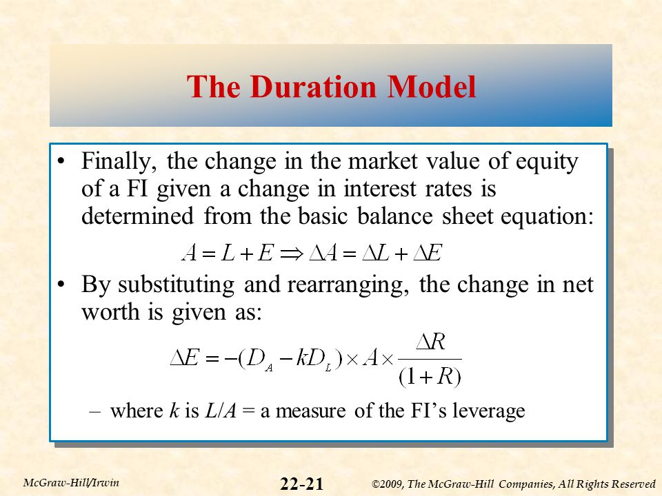 ©2009, The McGraw-Hill Companies, All Rights Reserved 22-21 McGraw-Hill/Irwin The Duration Model Finally, the change in the market value of equity of a FI given a change in interest rates is determined from the basic balance sheet equation: By substituting and rearranging, the change in net worth is given as: –where k is L/A = a measure of the FI's leverage Finally, the change in the market value of equity of a FI given a change in interest rates is determined from the basic balance sheet equation: By substituting and rearranging, the change in net worth is given as: –where k is L/A = a measure of the FI's leverage