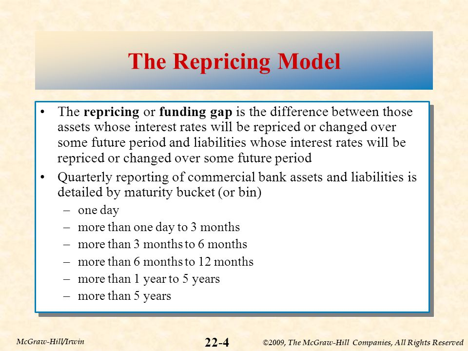 ©2009, The McGraw-Hill Companies, All Rights Reserved 22-4 McGraw-Hill/Irwin The Repricing Model The repricing or funding gap is the difference between those assets whose interest rates will be repriced or changed over some future period and liabilities whose interest rates will be repriced or changed over some future period Quarterly reporting of commercial bank assets and liabilities is detailed by maturity bucket (or bin) –one day –more than one day to 3 months –more than 3 months to 6 months –more than 6 months to 12 months –more than 1 year to 5 years –more than 5 years The repricing or funding gap is the difference between those assets whose interest rates will be repriced or changed over some future period and liabilities whose interest rates will be repriced or changed over some future period Quarterly reporting of commercial bank assets and liabilities is detailed by maturity bucket (or bin) –one day –more than one day to 3 months –more than 3 months to 6 months –more than 6 months to 12 months –more than 1 year to 5 years –more than 5 years