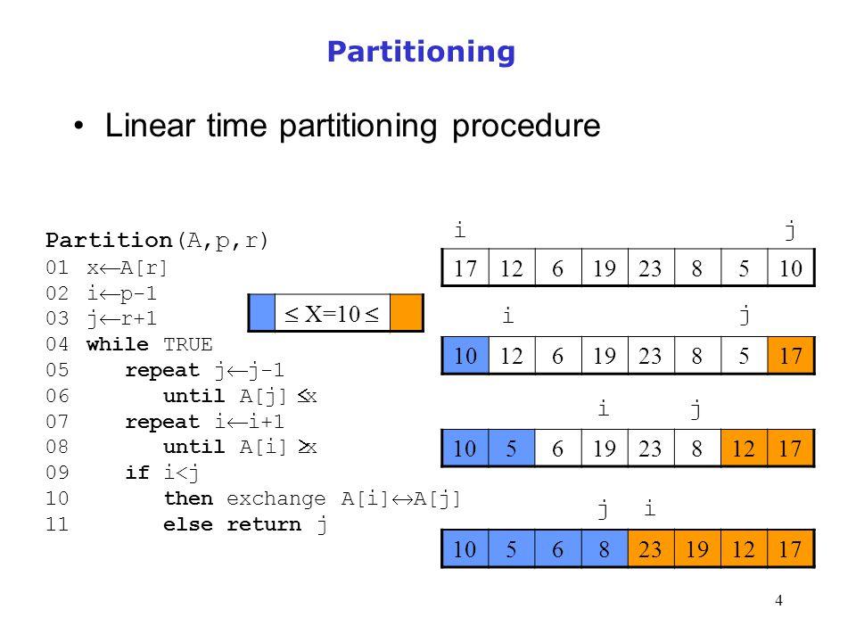 4 Partitioning Linear time partitioning procedure Partition(A,p,r) 01 x  A[r] 02 i  p-1 03 j  r+1 04 while TRUE 05 repeat j  j-1 06 until A[j] 