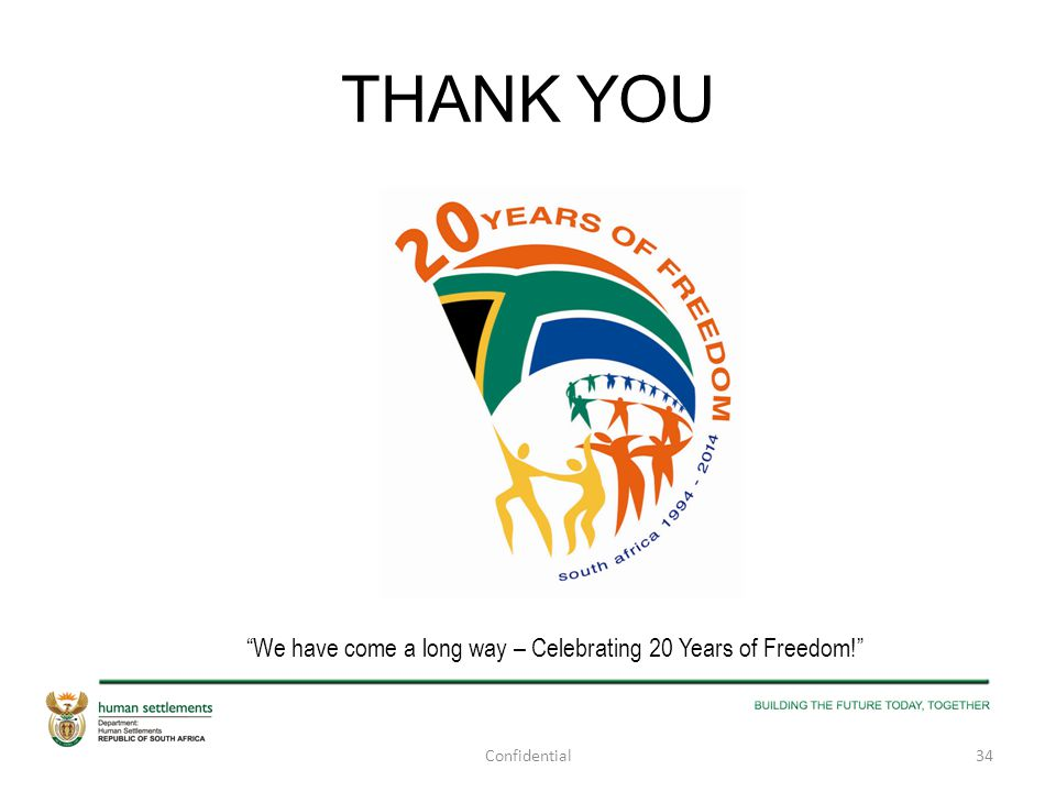 """THANK YOU """"We have come a long way – Celebrating 20 Years of Freedom!"""" 34Confidential"""