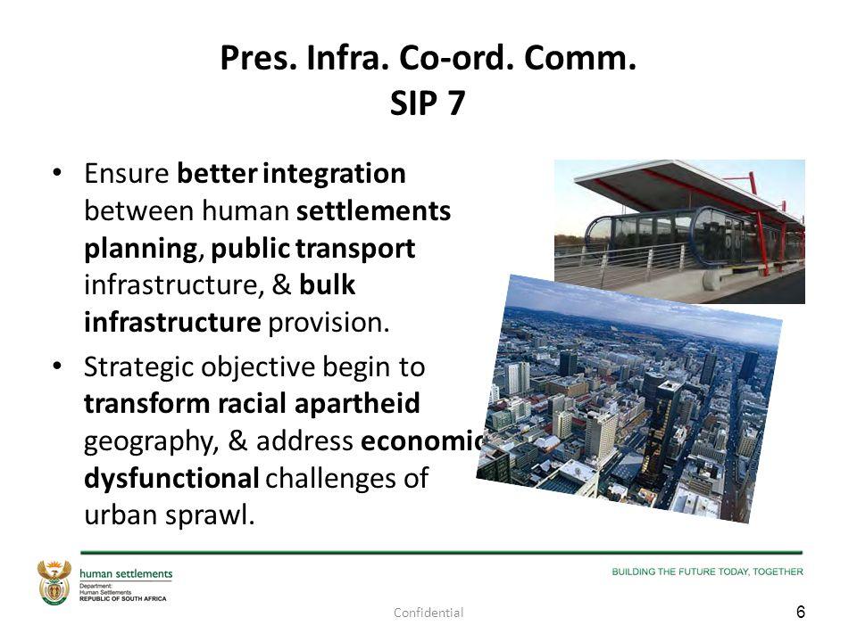 Pres. Infra. Co-ord. Comm. SIP 7 Ensure better integration between human settlements planning, public transport infrastructure, & bulk infrastructure