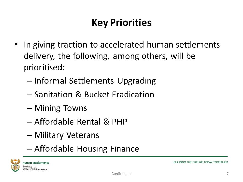 Key Priorities In giving traction to accelerated human settlements delivery, the following, among others, will be prioritised: – Informal Settlements
