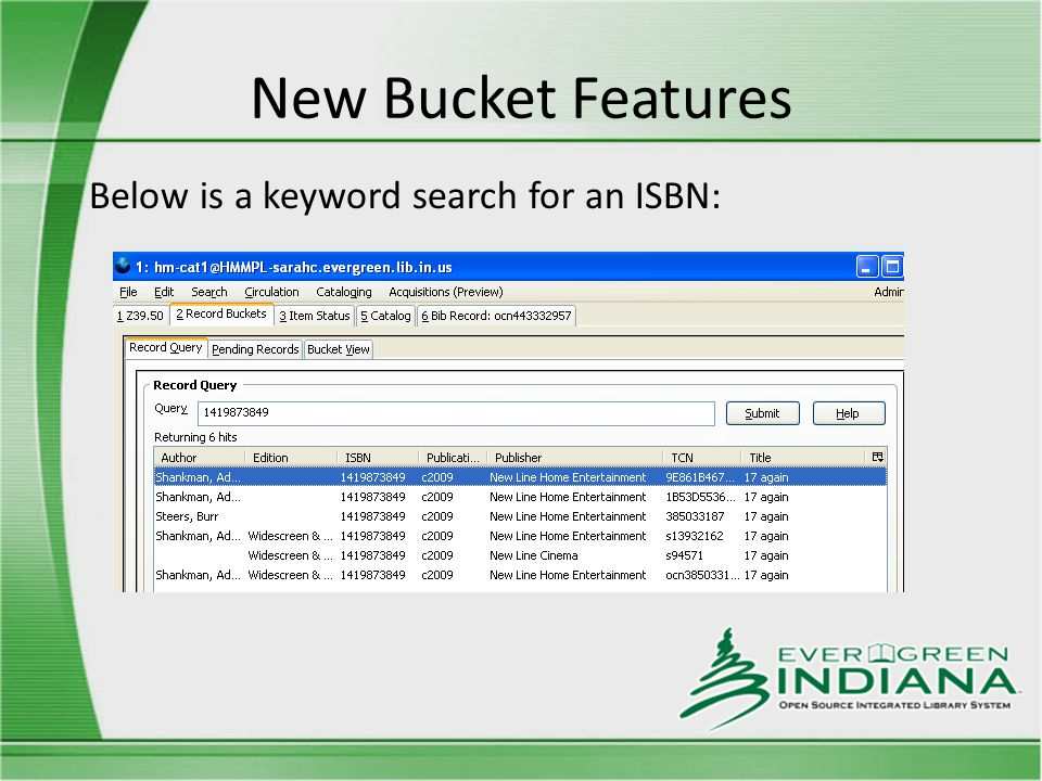 New Bucket Features Below is a keyword search for an ISBN: