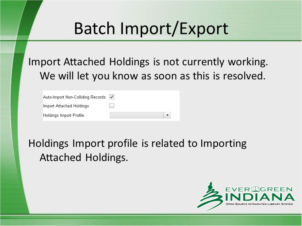 Batch Import/Export Import Attached Holdings is not currently working.