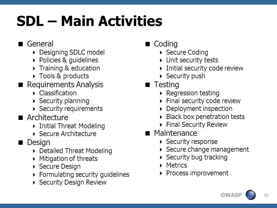 OWASP SDL – Main Activities  General  Designing SDLC model  Policies & guidelines  Training & education  Tools & products  Requirements Analysis  Classification  Security planning  Security requirements  Architecture  Initial Threat Modeling  Secure Architecture  Design  Detailed Threat Modeling  Mitigation of threats  Secure Design  Formulating security guidelines  Security Design Review  Coding  Secure Coding  Unit security tests  Initial security code review  Security push  Testing  Regression testing  Final security code review  Deployment inspection  Black box penetration tests  Final Security Review  Maintenance  Security response  Secure change management  Security bug tracking  Metrics  Process improvement 10