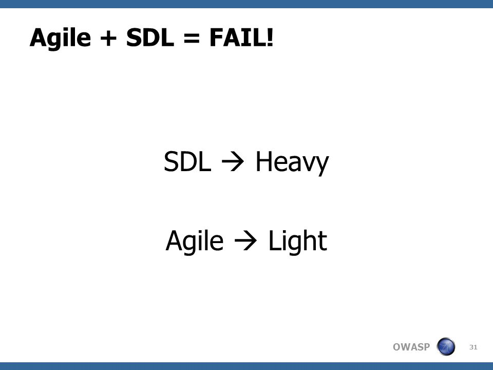 OWASP Agile + SDL = FAIL! SDL  Heavy Agile  Light 31