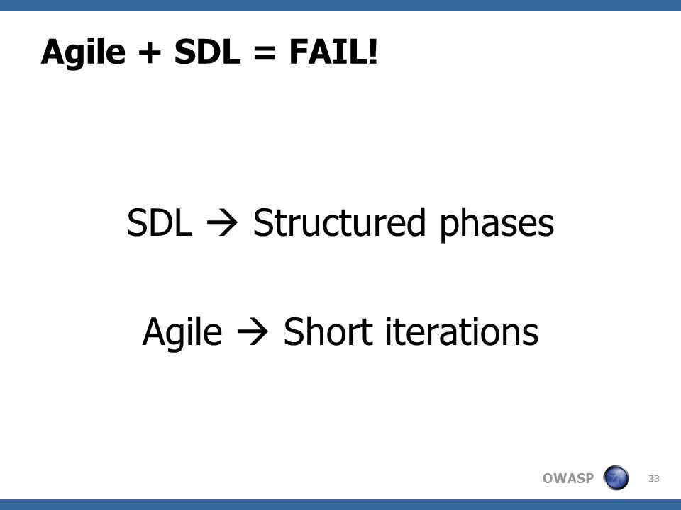 OWASP Agile + SDL = FAIL! SDL  Structured phases Agile  Short iterations 33