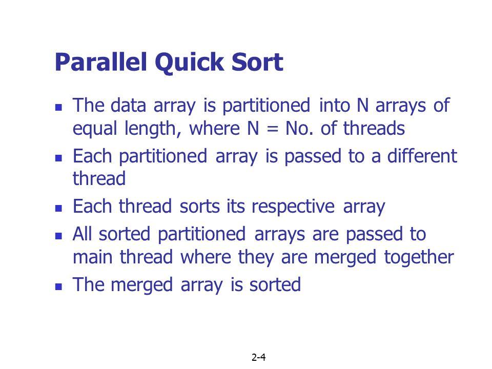 2-5 Parallel Quick Sort 31 23 14 26 8 36 4 21 4 7 1 43 32 12 21 7 31 23 14 26 8 36 4 21 4 7 1 43 32 12 21 7 14 23 26 31 4 8 21 36 1 4 7 43 7 12 21 32 14 23 26 31 4 8 21 36 1 4 7 43 7 12 21 32 1 4 4 7 7 8 12 14 21 23 26 31 32 36 43 Thread Function (1) (2) (3) (4)