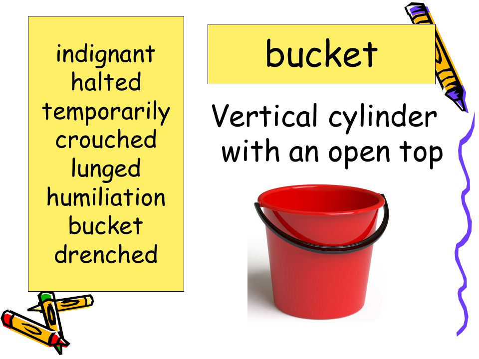 Words to Know indignant halted temporarily humiliation crouched lunged drenched bucket
