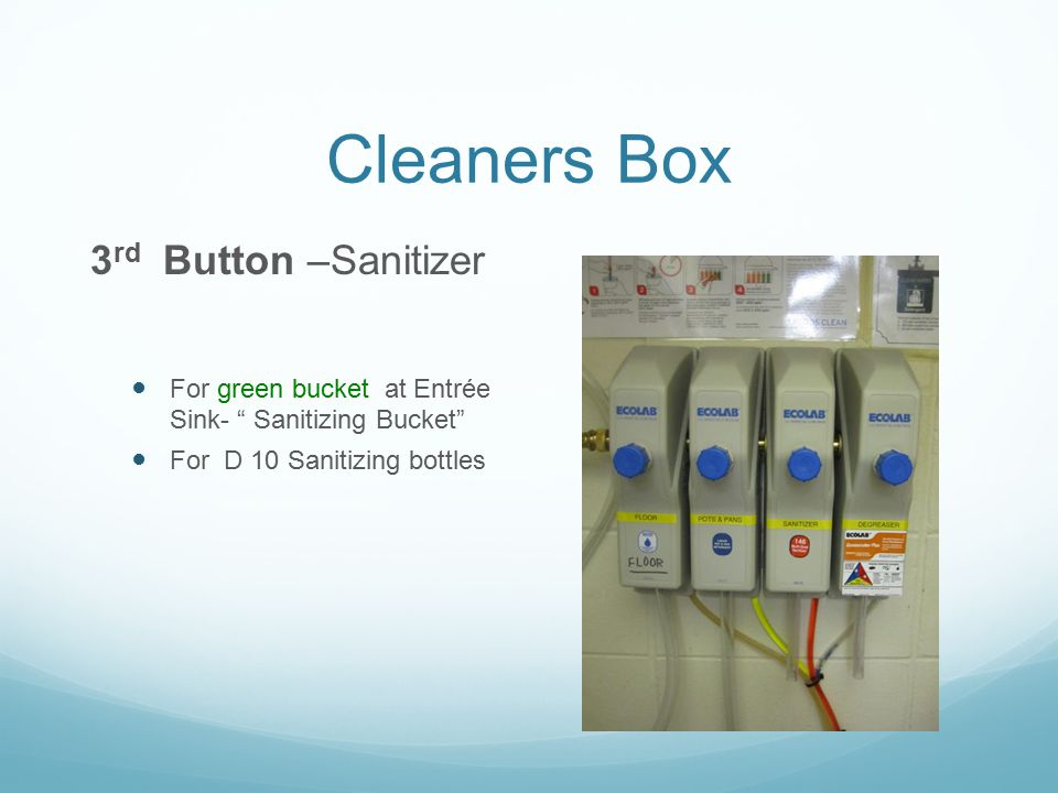 "Cleaners Box 3 rd Button –Sanitizer For green bucket at Entrée Sink- "" Sanitizing Bucket"" For D 10 Sanitizing bottles"