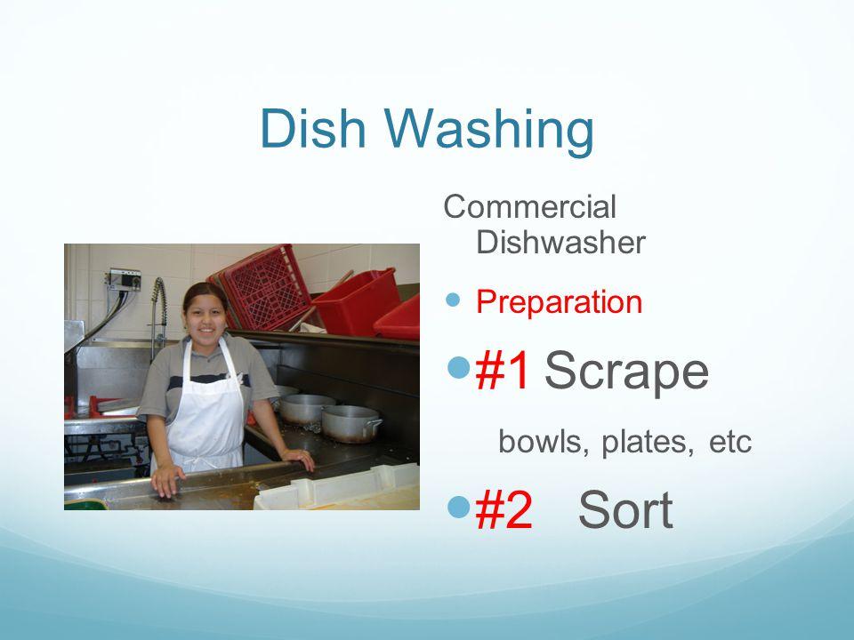 Dish Washing Commercial Dishwasher Preparation #1 Scrape bowls, plates, etc #2 Sort