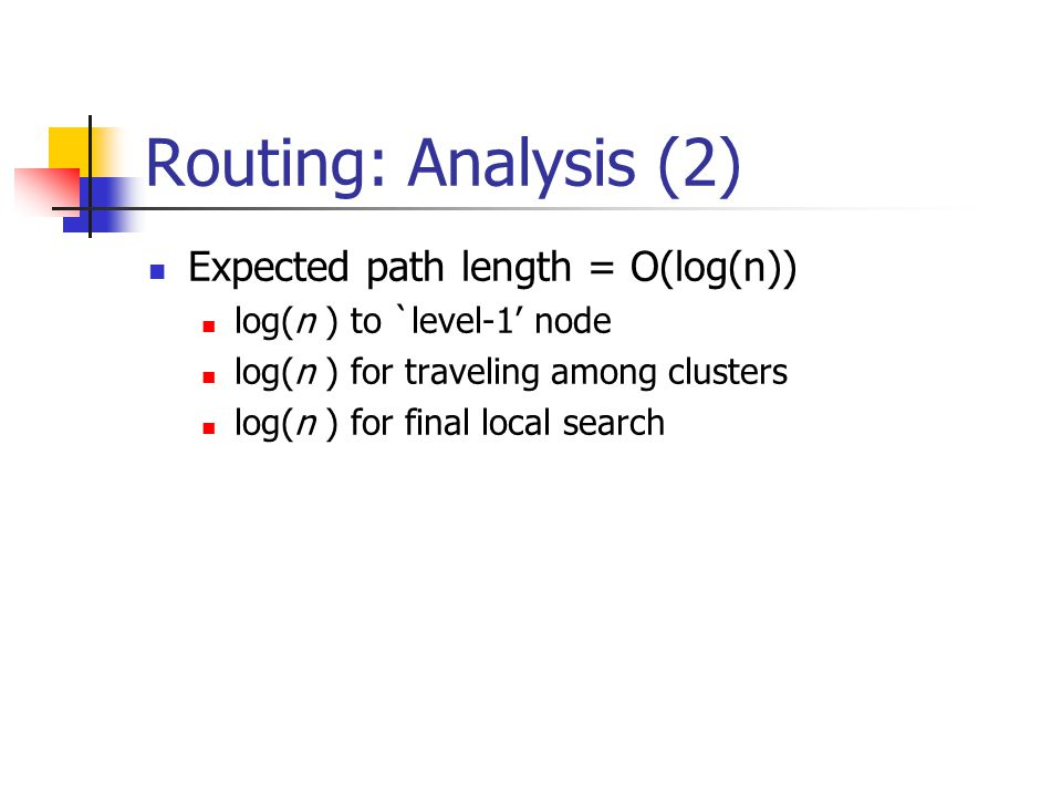 Routing: Analysis (2) Expected path length = O(log(n)) log(n ) to `level-1' node log(n ) for traveling among clusters log(n ) for final local search