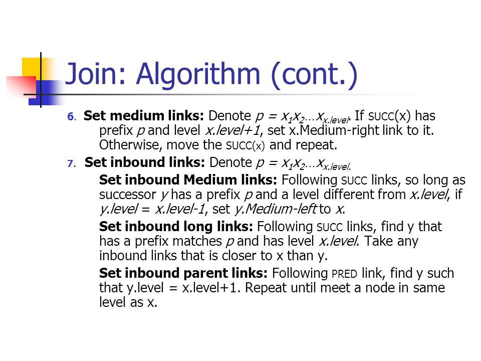 Join: Algorithm (cont.) 6. Set medium links: Denote p = x 1 x 2 … x x.level.