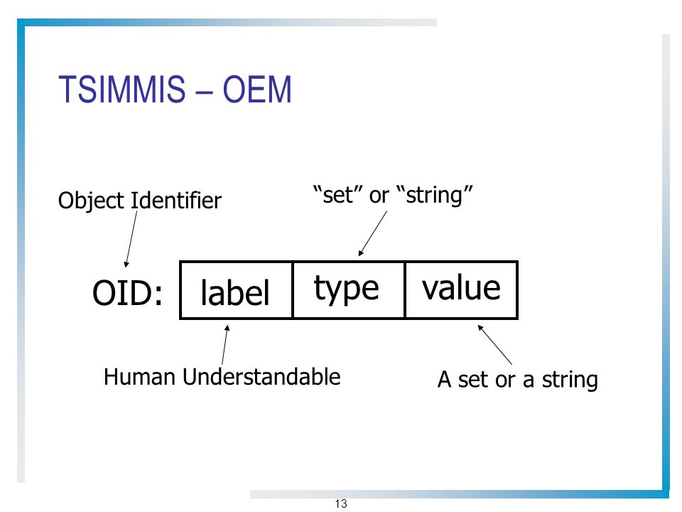 13 TSIMMIS – OEM OID:label typevalue Object Identifier Human Understandable set or string A set or a string