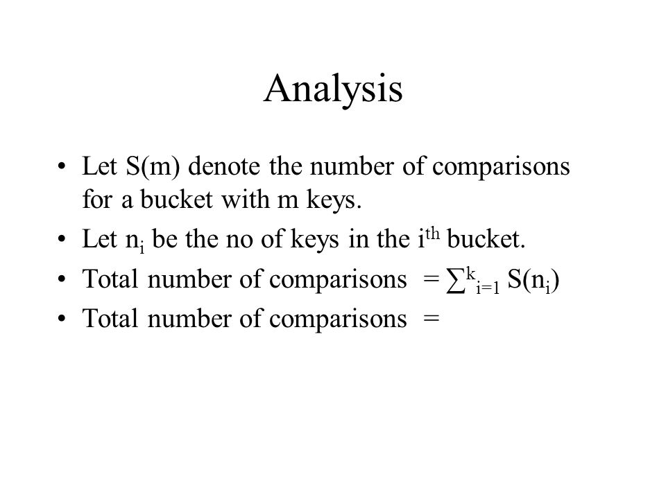 Analysis Let S(m) denote the number of comparisons for a bucket with m keys.