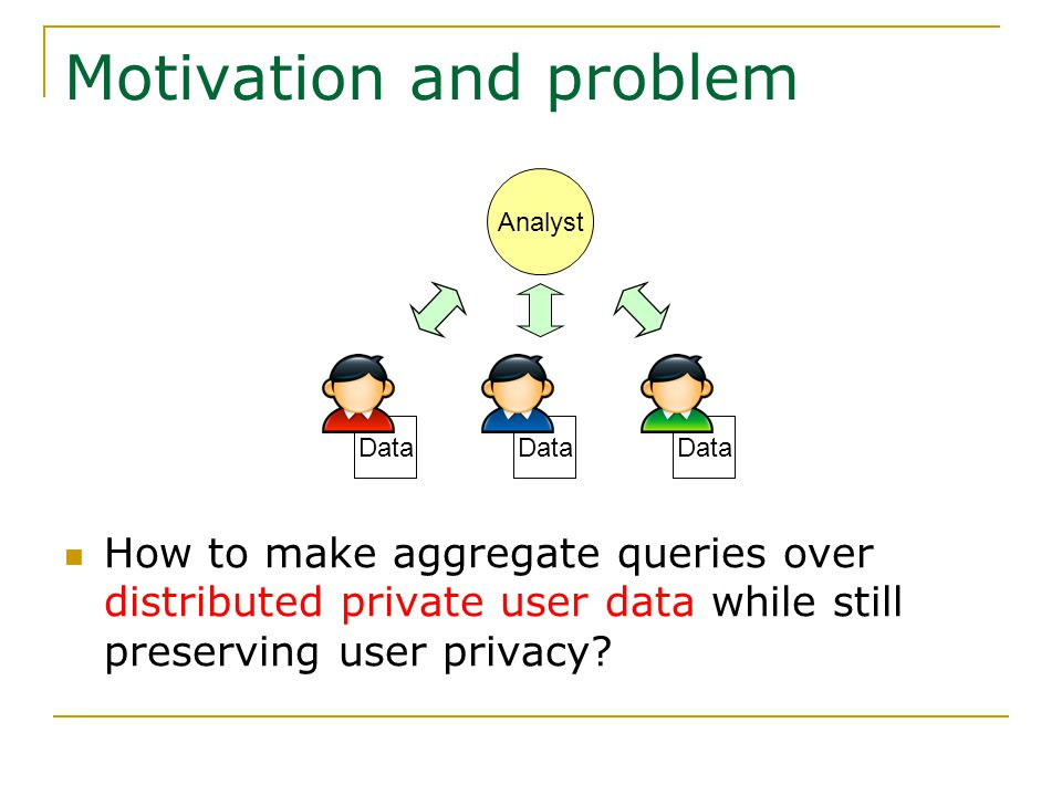Motivation and problem How to make aggregate queries over distributed private user data while still preserving user privacy.