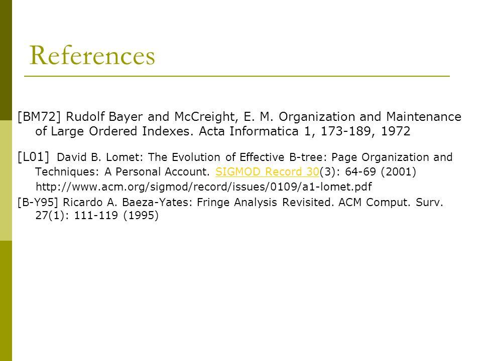 References [BM72] Rudolf Bayer and McCreight, E. M.