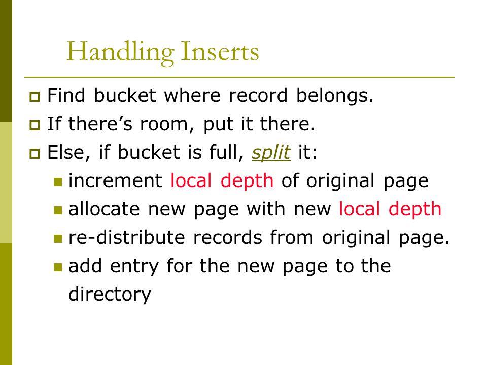 Handling Inserts  Find bucket where record belongs.