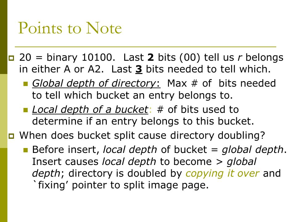 Points to Note  20 = binary 10100. Last 2 bits (00) tell us r belongs in either A or A2.