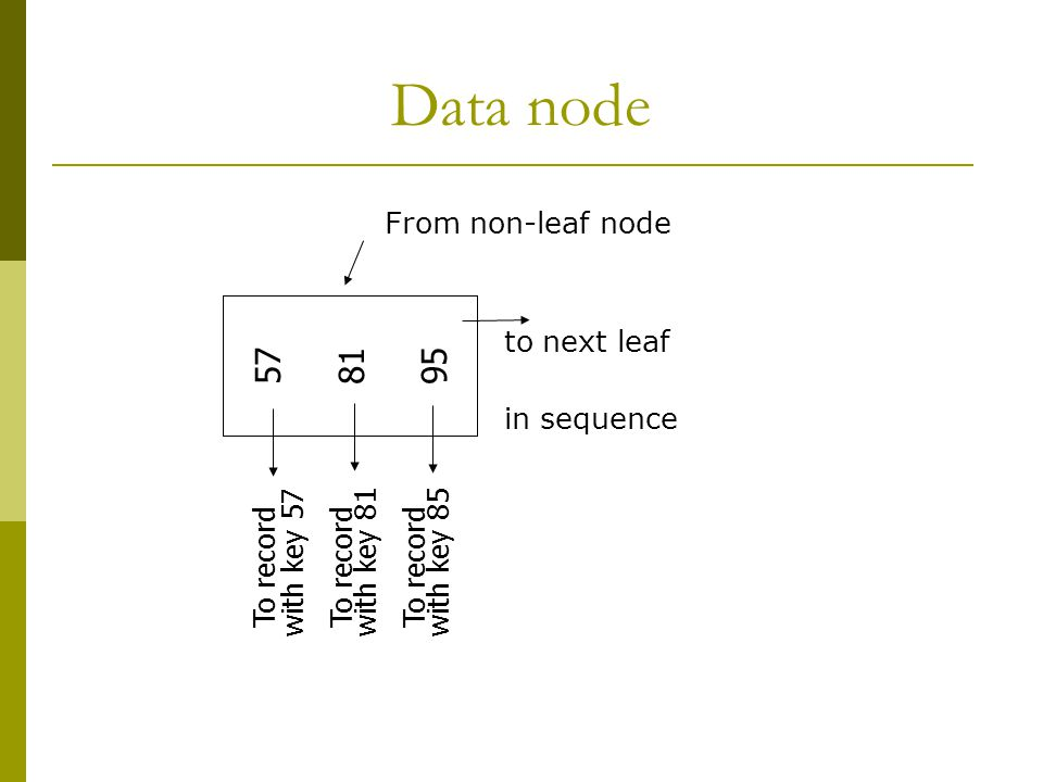Data node 57 81 95 To record with key 57 To record with key 81 To record with key 85 From non-leaf node to next leaf in sequence