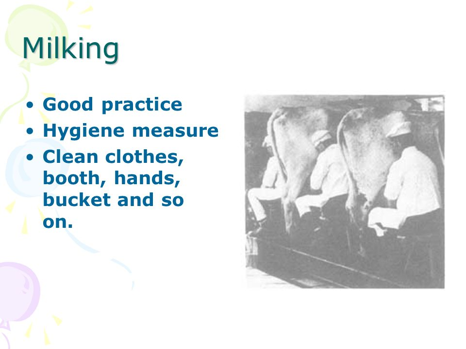 Milking Good practice Hygiene measure Clean clothes, booth, hands, bucket and so on.